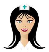 Pretty nurse face logo vector