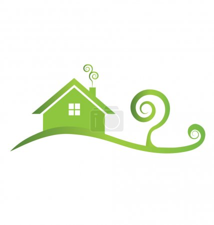 Green house with swirly tree logo