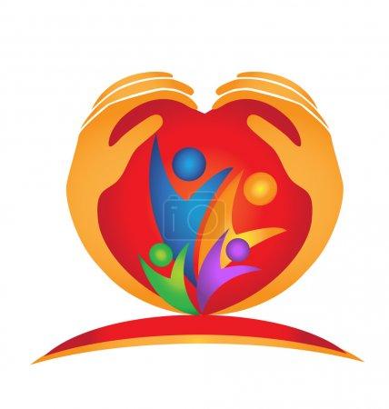 Illustration pour Famille, mains et forme de coeur logo vecteur - image libre de droit