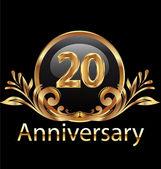 20 years anniversary birthday in gold