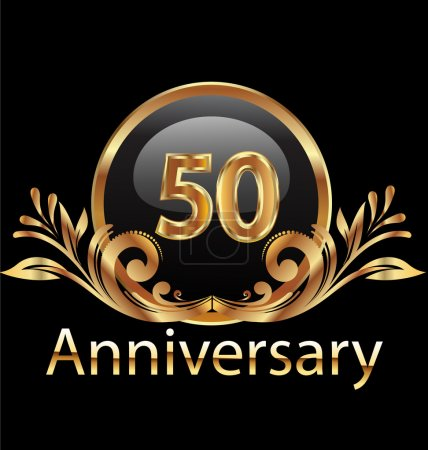 Fifty years anniversary birthday in gold