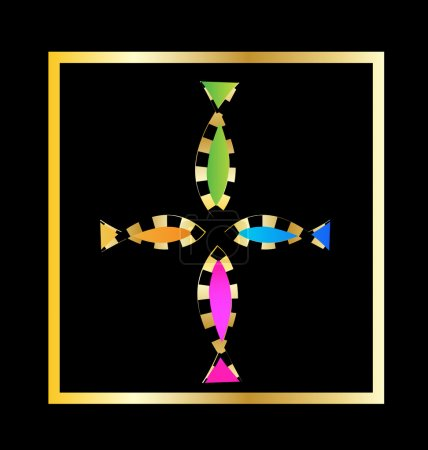 Illustration for Cross from decorative fish vector design - Royalty Free Image