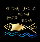 Gold Fish group and waves background vector