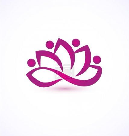 Purple lotus flower logo vector