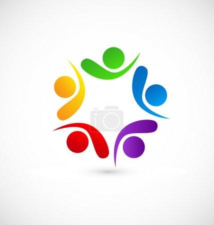 Teamwork friends networking logo vector