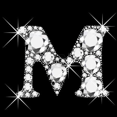 Letter M with diamonds bling bling