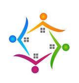 Houses teamwork logo real estate