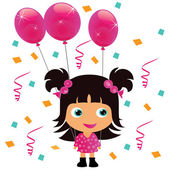 Little girl with pink birthday balloons vector illustration
