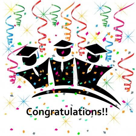 Illustration for Graduates congratulations celebrations icon vector - Royalty Free Image