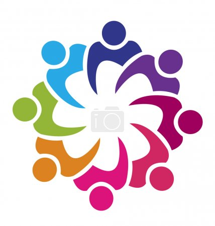 Teamwork union 8 people logo vector