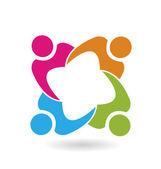 Týmová práce Unie 4 lidi logo vektor
