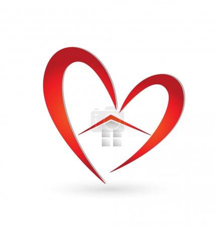 Illustration pour Maison et coeur logo vecteur - image libre de droit