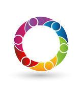Vector of Teamwork logo icon design rainbow color
