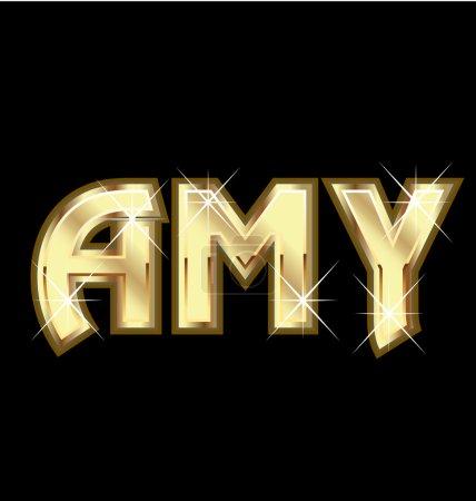 Illustration pour Amy fille nom en or vecteur stock - image libre de droit