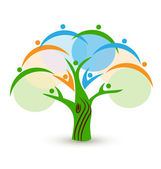 Teamwork people represented in a tree vector icon