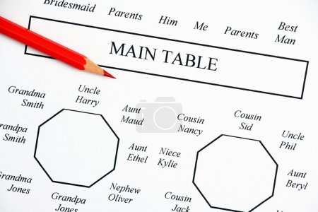 Photo pour Gros plan d'un mariage sièges de diagramme de plan montrant les principaux tableaux pour la mariée, les mariés et les membres de la famille avec un crayon rouge pratique pour faire ces changements inévitables - image libre de droit