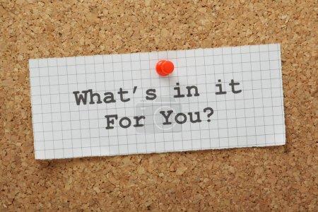 Photo pour La question, ce qui est en elle pour vous tapé sur un morceau de papier millimétré et épinglé à un panneau d'affichage Liège - image libre de droit
