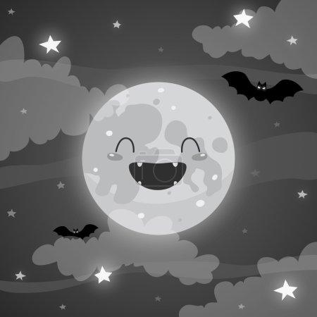 Illustration pour Jolie lune d'Halloween - image libre de droit
