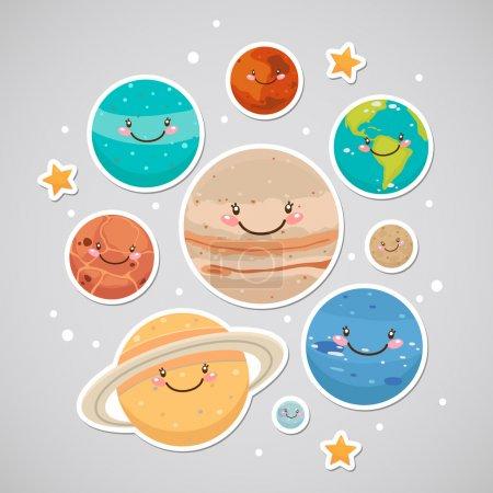 Illustration for Cute planet: saturn, mars, neptune, earth, venus, mercury, jupiter, uranus, pluto - Royalty Free Image
