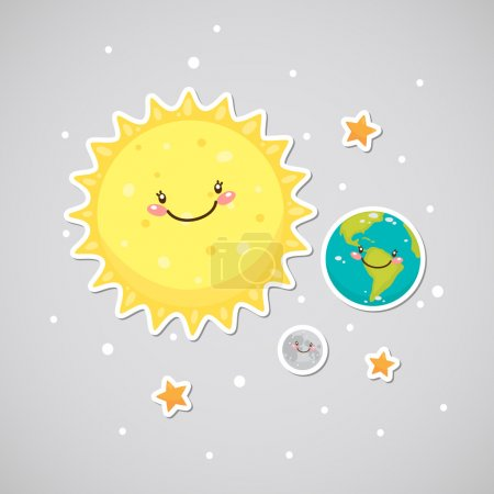 Illustration for Cute space: earth, sun, moon - Royalty Free Image