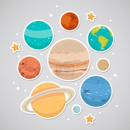 Illustration for Planet: saturn, mars, neptune, earth, venus, mercury, jupiter, uranus, pluto - Royalty Free Image
