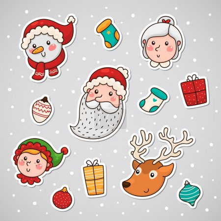 Illustration pour Noël et nouvelle année visages collants - image libre de droit