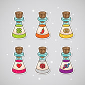 Sticker with love potions: clover - luck chili - passion ring - wedding heart - love rose - romance male and a female symbol - sex
