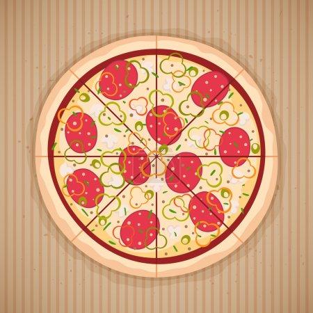 Illustration pour Pizza entière - image libre de droit