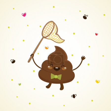 Illustration for Cute turd and flies - Royalty Free Image