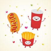 Cute fast food hot dog