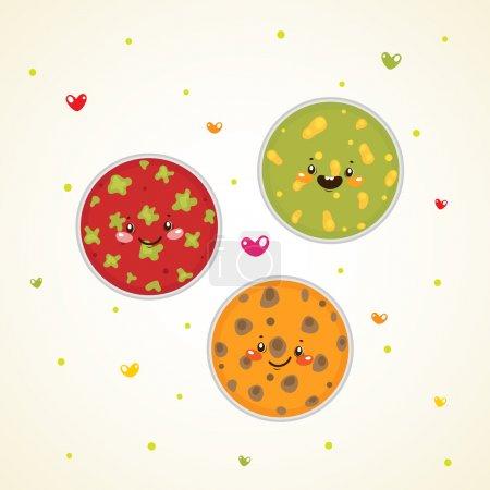 Cute bacteria in Petri dishes