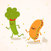 Broccoli vs hot dog healthy food vs fast food competition