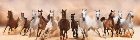 Photo for A herd of horses running on the sand storm - Royalty Free Image