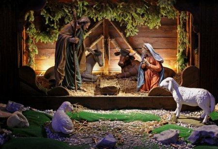 Photo pour Scène bible religius native avec la naissance de Jésus - image libre de droit