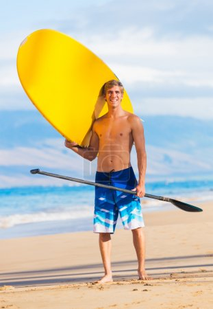 Man with Stand Up Paddle Board