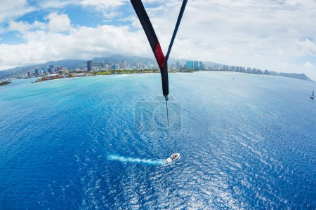 Parasailing Over Ocean in Hawaii