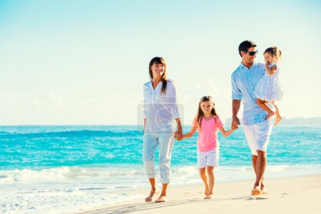 Photo for Happy Family Having Fun on Tropical Beach - Royalty Free Image