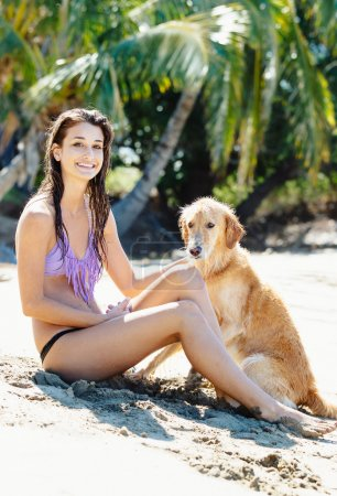 Woman at the Beach with her Dog