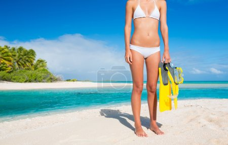 Woman on Tropical Island with Snorkel Gear