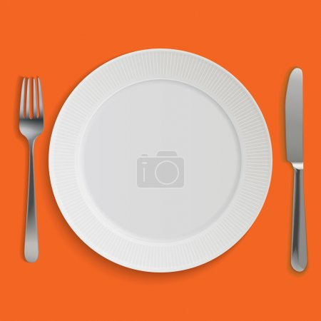 Illustration for Dinner plate, knife and fork. Vector objects collection. - Royalty Free Image