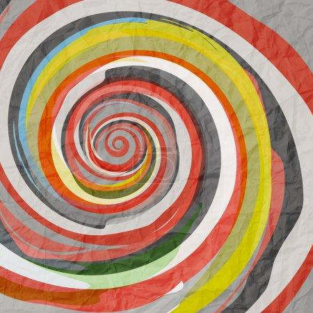Illustration pour Fond abstrait avec spirale colorée sur la texture du papier - image libre de droit