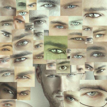 Photo pour Collage conceptuel de plusieurs yeux masculins différents - image libre de droit