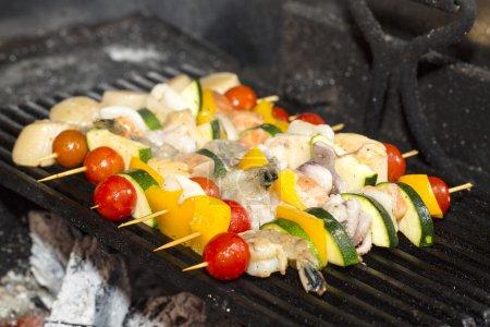 Skewers of seafood
