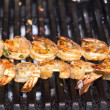 Cooking shrimp on the grill in the restaurant...