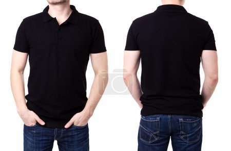 Black polo shirt on a young man template on white background