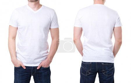 Photo for White t shirt on a young man template on white background - Royalty Free Image
