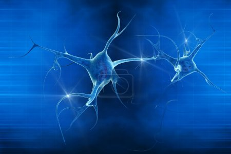 3D illustration of a neuron