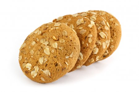 Photo for Oatmeal cookie isolated on white - Royalty Free Image