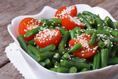Salad of green beans, cherry tomatoes and sesame