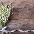 Beautiful floral frame with lilies of the valley f...
